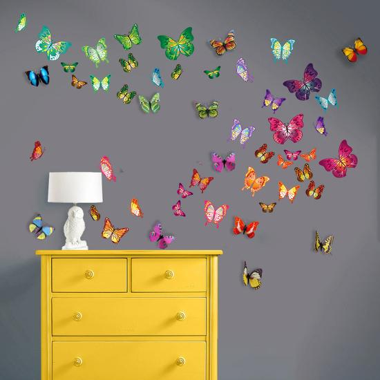 3d butterfly wall stckers wall decors wall art wall.htm flat and 3d butterfly collection wall decal at allposters com  3d butterfly collection wall decal