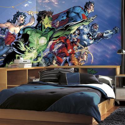 Justice League XL Chair Rail Prepasted Mural