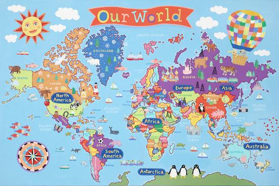 Kid S Laminated World Map Poster At Allposters Com