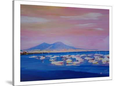 Boats In Gulf Of Naples Italy With Vesuvius