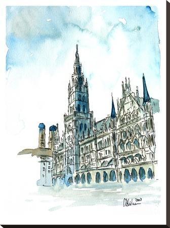 Munich City Hall Aquarell