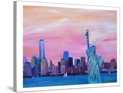 Manhattan Skyline With Downtown Skyline And Statue Of Liberty