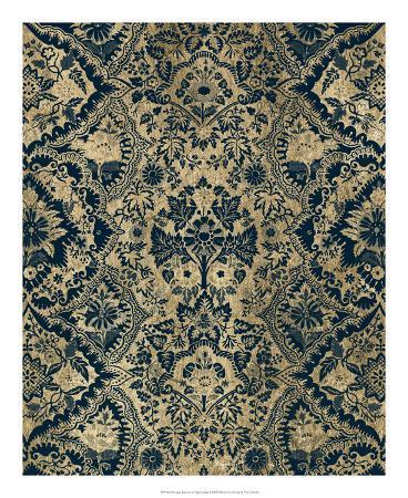 Baroque Tapestry in Aged Indigo I