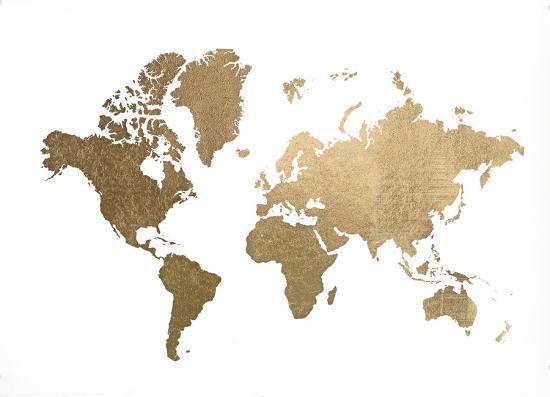 Large Gold Foil World Map Art By Jennifer Goldberger At Allposters Com