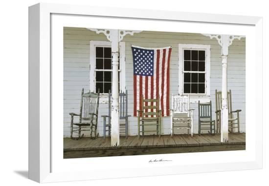 Chair Family with Flags Framed Canvas Print by Zhen-Huan Lu at ...