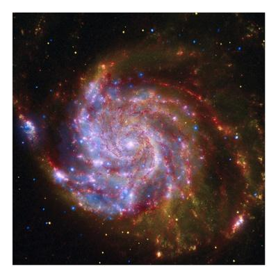 Spitzer-Hubble-Chandra Composite of M101