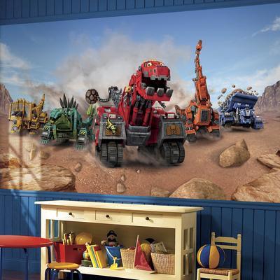 Dinotrux XL Chair Rail Prepasted Mural