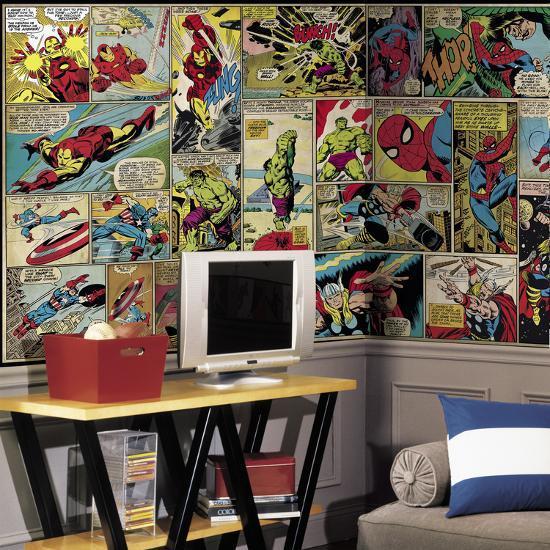 Marvel Comic Panel XL Chair Rail Prepasted Mural Wallpaper