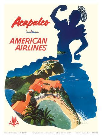Acapulco, Mexico - American Airlines - Mexican Dancer Silhouette