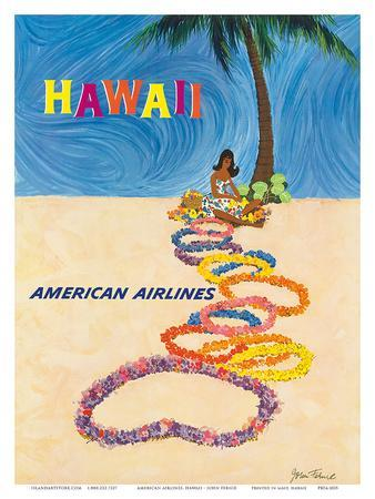 Hawaii - American Airlines - Native Hawaiian Girl Making Leis