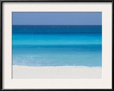 Shades of Blue Color the Beachfront Waters in Cancun, Mexico