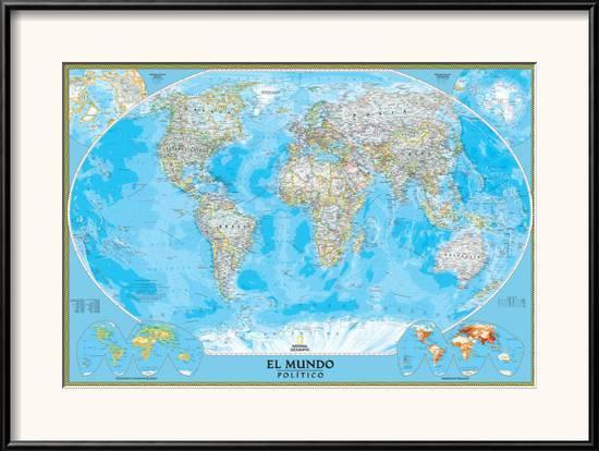 Spanish Classic World Map Posters By National Geographic Maps At