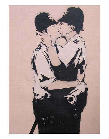 Kissing policemen