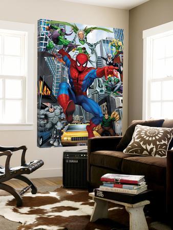 Spider-Man, Doctor Octopus, Green Goblin, Vulture, Black Cat, Electro, Lizard, Rhino and Sandman