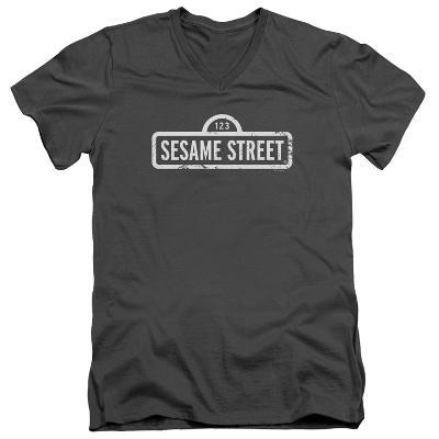Sesame Street- Distressed Logo V-Neck