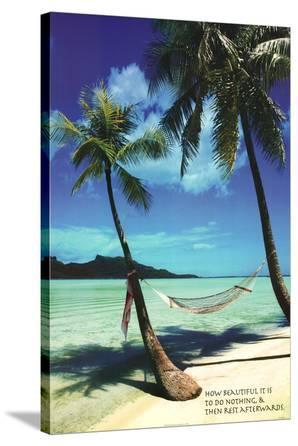 Paradise Beach Hammock Art Print Poster
