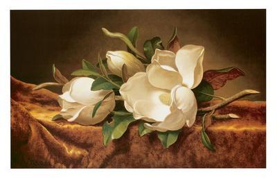Magnolias on Gold Velvet Cloth