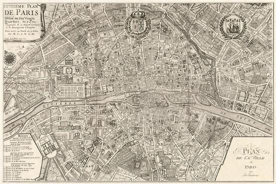 plan de la ville de paris 1715 posters by nicolas de fer at. Black Bedroom Furniture Sets. Home Design Ideas