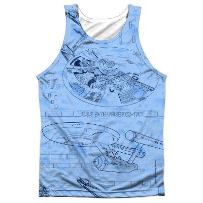 Tank Top: Star Trek- Blue Print Black Back