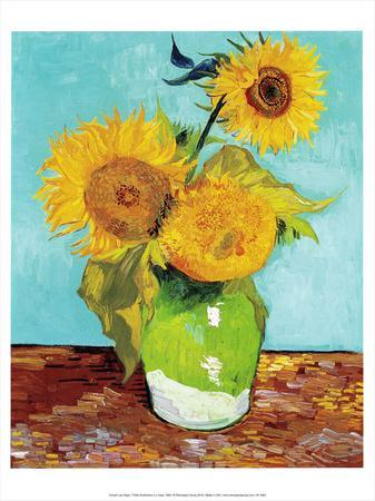 Three Sunflowers in a Vase (1883)