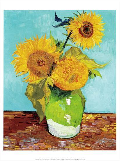 Three Sunflowers In A Vase 1883 Prints By Vincent Van Gogh At