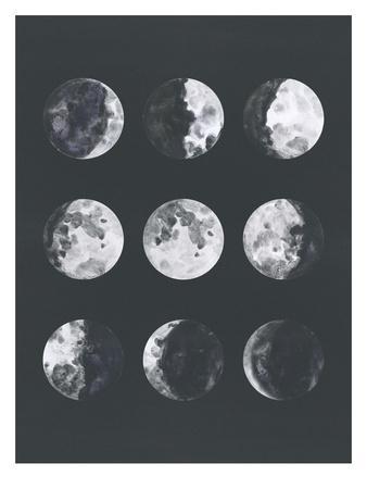Moon Phases Watercolor Ii