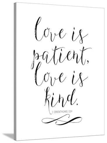 Love Is Patient Love Is Kind Chalkboard 01 Stretched Canvas Print By