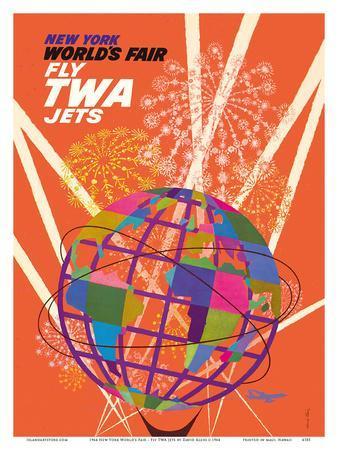 1964 New York World's Fair - Fly TWA Jets (Trans World Airlines) - Unisphere Globe
