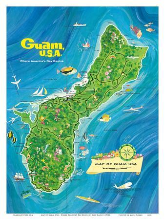 Map of Guam, USA - Where America's Day Begins