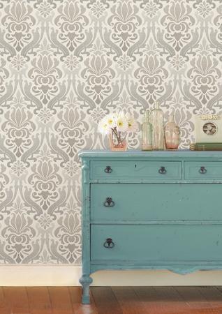 Grey Nouveau Damask Peel & Stick Wallpaper