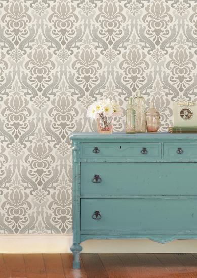 Grey Nouveau Damask Peel Stick Wallpaper