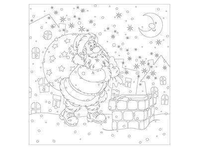 Santa At The Chimney Coloring Art