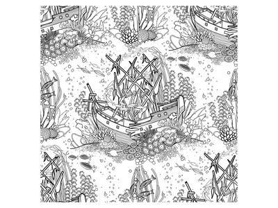 Sunken Pirateship Coloring Art