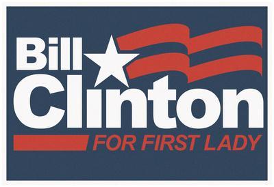 Bill Clinton For First Lady Grey Fan Sign