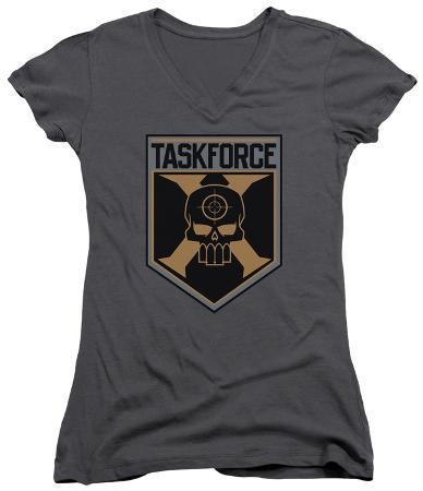 Juniors: Suicide Squad- Taskforce X Shield V-Neck