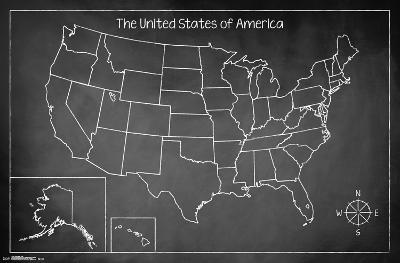 United States Of America Chalk Map