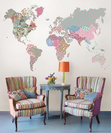 Boho World Map Super Wall Art Kit