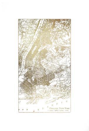 Gold Foil City Map New York