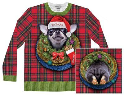 Long Sleeve: Xmas Big Dog Ugly Sweater (Front/Back)