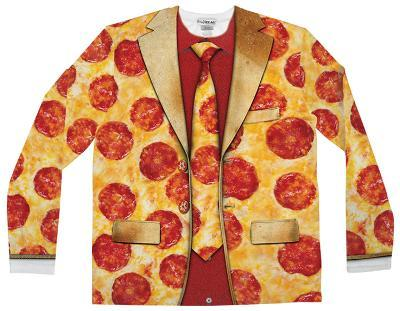 Long Sleeve: Pizza Suit Costume Tee (Front/Back)