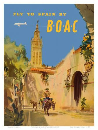 Fly to Spain - by BOAC (British Overseas Airways Corporation)