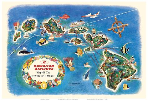 Pictorial Map of the Hawaiian Islands Wall Art Poster Decor Vintage Hawaii Repro
