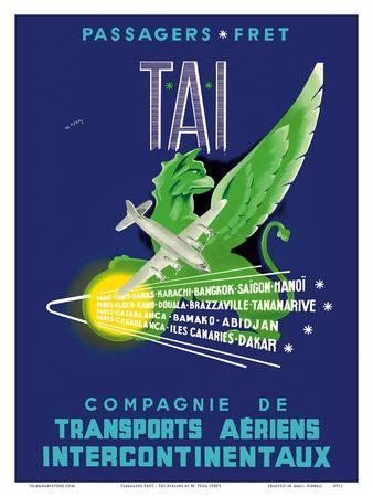 TAI Airline - Passengers Freight - Air Route Destinations between France and Africa, Asia
