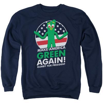 Crewneck Sweatshirt: Gumby- For President, Make America Green Again