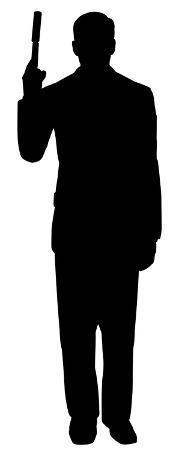 Secret Agent Spy With Gun Silhouette