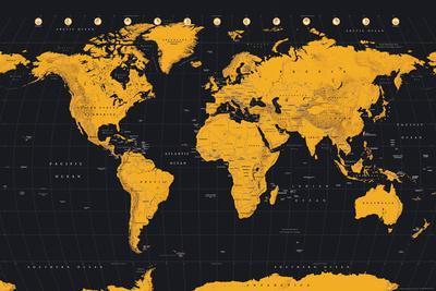 World Map Gold & Black