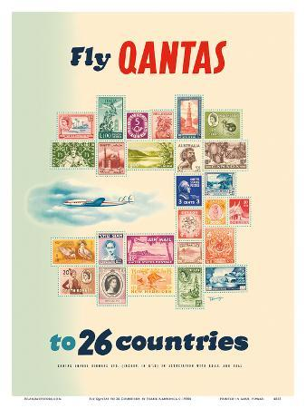 Fly Qantas to 26 Countries - Postal Stamps of the World