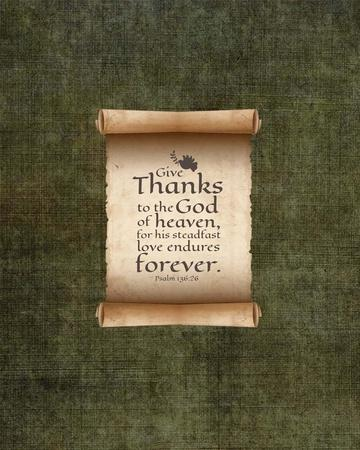 Psalm 136:26, Give Thanks (Scroll on Olive Border)