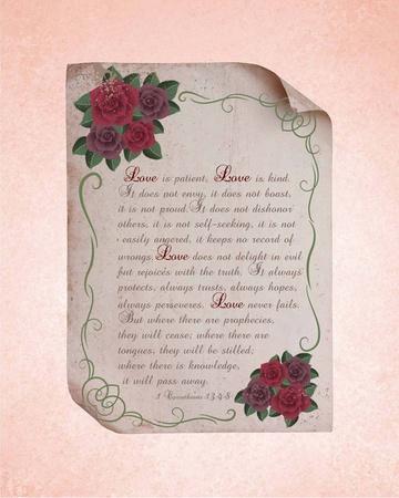 Corinthians 13:4-8 Love is Patient - Rose Border Pink
