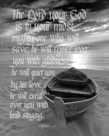 Zephaniah 3:17 The Lord Your God (Beach Black & White)
